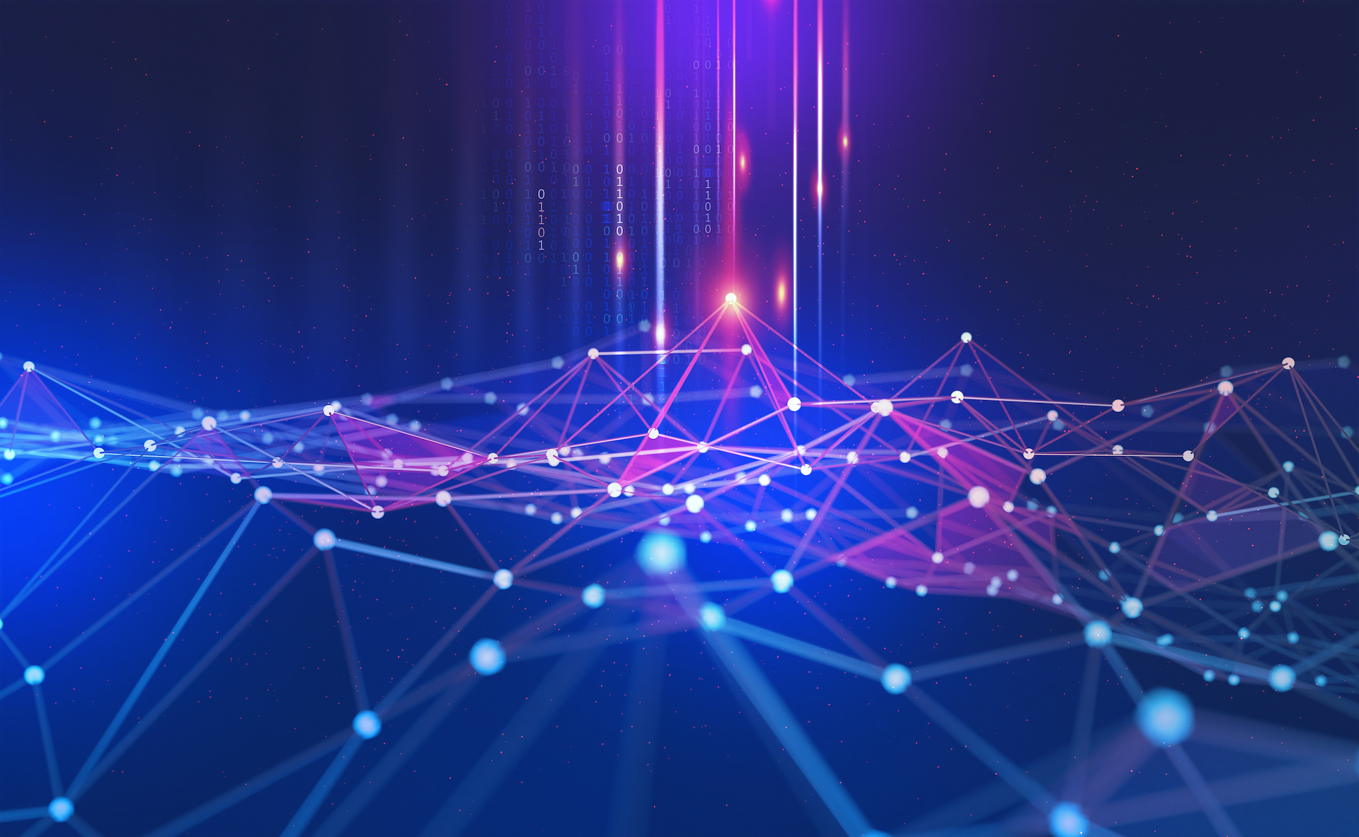 Red digital de puntos interconectados, con algunos de ellos resaltados, representando el análisis del Big Data