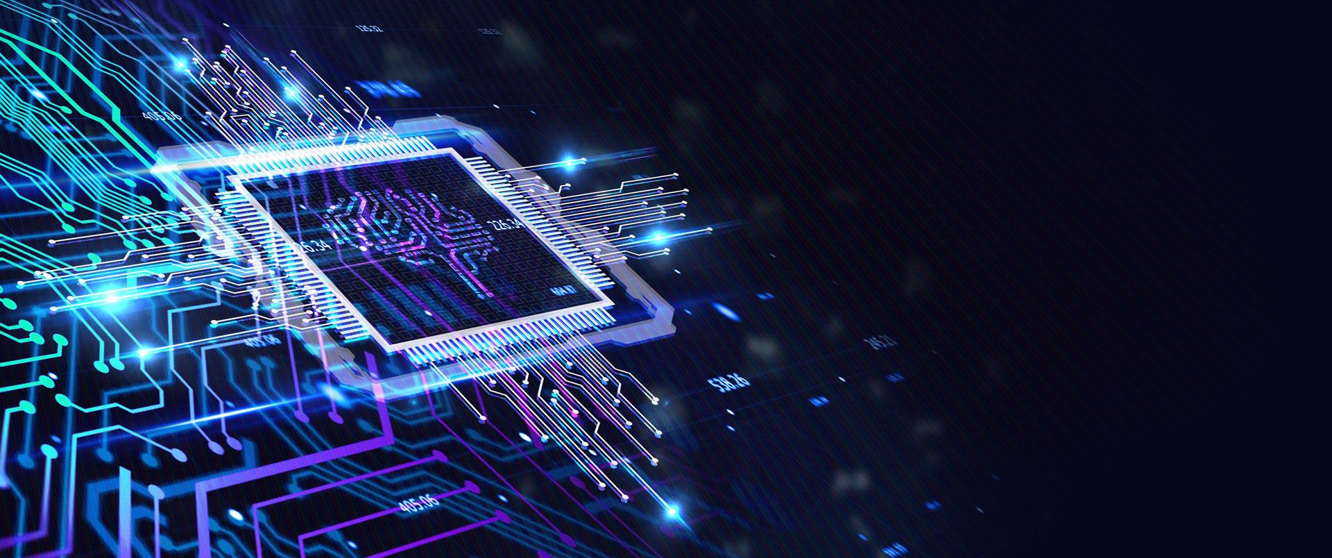 Red de circuitos conectados a un procesador, representando una inteligencia artificial
