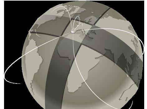 El mundo rodeado por una cruz y con varias líneas de conexiónque parten desde Andalucía